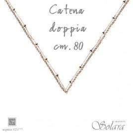 COLLANA IN ARGENTO  DOPPIA CATENA ROSE' CM.80